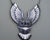 Preying Owl Necklace in Black and Grey