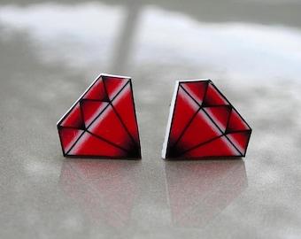 CLEARANCE - Tiny Ruby Tattoo Earrings