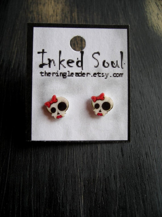 CLEARANCE - Cute Little Girly Skull Earrings