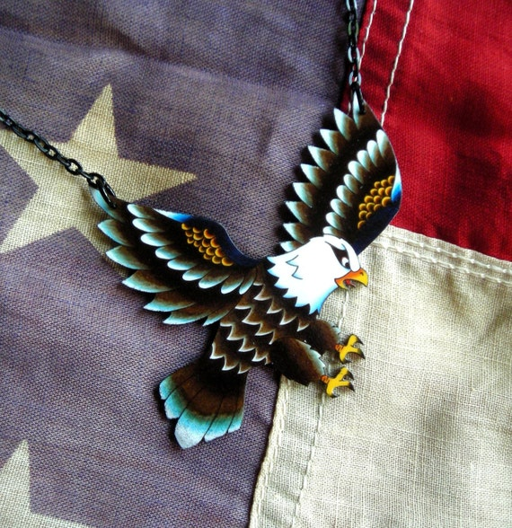 Old School Tattoo Style Eagle Necklace