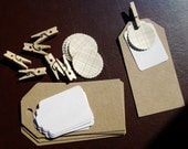 DIY Tag Kit - Gift Tags and Stickers Kraft, White, Brown