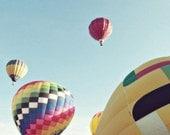 hot air balloon photography / balloon, flight, float, rainbow, blue sky, air travel, transportation, adventure / fly / 8x8 fine art photo