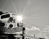 black and white train photograph / travel, transportation, industrial, masculine, father's day / choo choo flare (b/w) / 8x8 fine art photo