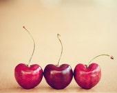 cherries still life food photography / valentines day, kitchen decor, heart, cherry, three, trio, red, minimalist / hearts / 8x10 fine art