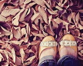 autumn fall nature photograph / leaves, mustard yellow, feet, shoes, woman / yellow shoes fall leaves / 8x10 fine art photo - shannonpix