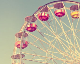 ferris wheel carnival photography / summer, fun, ride, red, blue / round and round / 8x8 fine art photograph