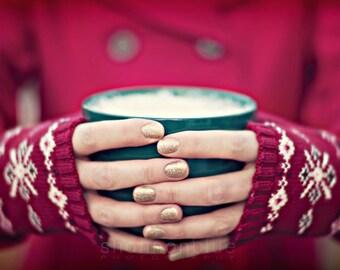 christmas photography / christmas decor, coffee, hot chocolate, holiday decor, hands, red, green, mug / christmas cocoa / 8x10 fine art