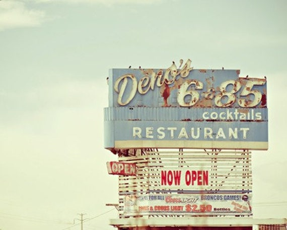 diner sign americana photography / restaurant, bar, neon, vintage, travel, roadside / deno's / 8x10 fine art photograph