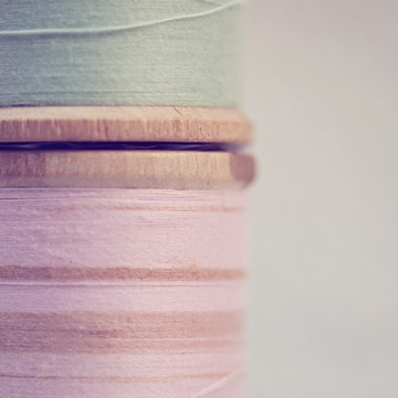 vintage spool thread photography / sewing notion, wooden spools, blush pink, mint green / sew / 8x8 fine art photograph