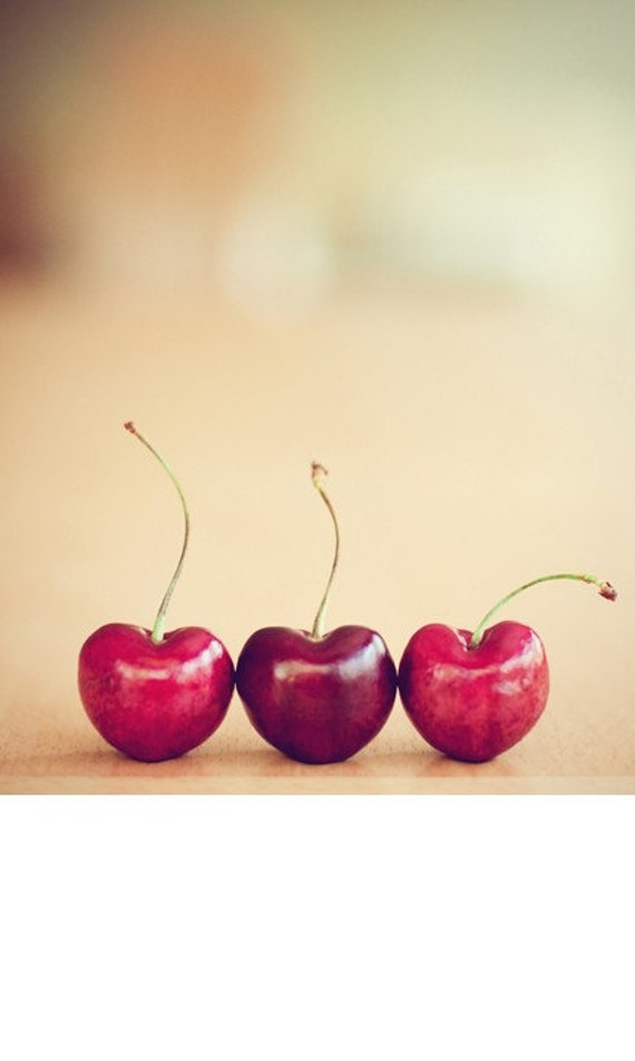 cherries still life food photography / valentines day, kitchen decor, heart, cherry, three, trio, red, minimalist / hearts / 8x10 fine art