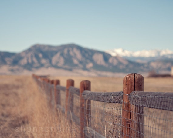 mountain nature photography / colorado, fence, rocky mountains, rockies, blue sky, landscape / on the fence / 8x10 fine art photo