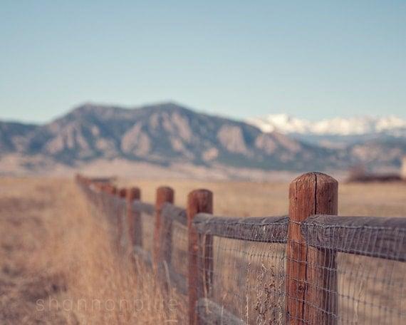 mountain nature photography / colorado, fence, rocky mountains, rockies, blue sky, landscape / on the fence / 8x10 fine art photo