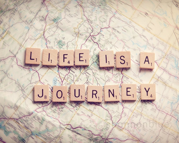 life travel photography / journey, map, wanderlust, adventure, scrabble tiles, letters, typography / life is a journey / 8x10 fine art photo