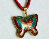 Vintage Cloisonne Butterfly Necklace, Double Sided Cloisonne Necklace, Colorful Vintage Cloisonne Butterfly Pendant