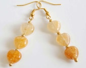 Amber Colored Heart Earrings, Gemstone Heart Dangle Earrings, Romantic Earrings, Sweetheart Earrings