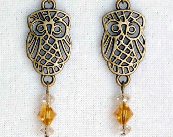 Owl Earrings - Custom Birthstone Colors, Filigree Owl Charm Earrings, Dangle Woodland Earrings, Bird Earrings, Nature Lover Earrings