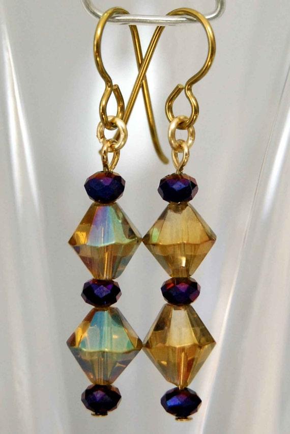 Golden Niobium Earrings - Pick your accent color, Dressy Dangle Earrings, Elegant Crystal Earrings with Niobium Ear Wires for sensitive ears