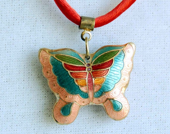 Butterfly Necklace - Vintage Cloisonne, Rainbow Colors Pendant, Double Sided Cloisonne Jewelry