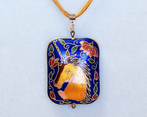 Unicorn Necklace - Vintage Cloisonne
