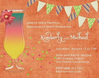 Tropical Party Invitation, Birthday, Rehearsal, Engagement   Printable, Digital File