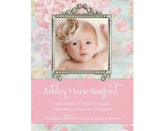 Girl Birth Announcement - Shabby Chic Vintage Baby Photo  - Printable, Digital File