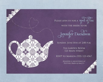 Tea Party Bridal Shower Invitation,Printable Invitation, Digital File
