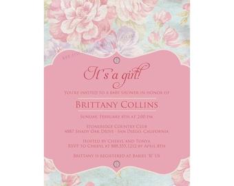 Shabby Chic Baby Shower, Vintage Baby Shower Invitation, Floral Baby Shower Invitation, Pink Baby Shower,  Printable, Digital File