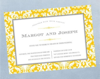 Damask Wedding Invitation - Printable Digital