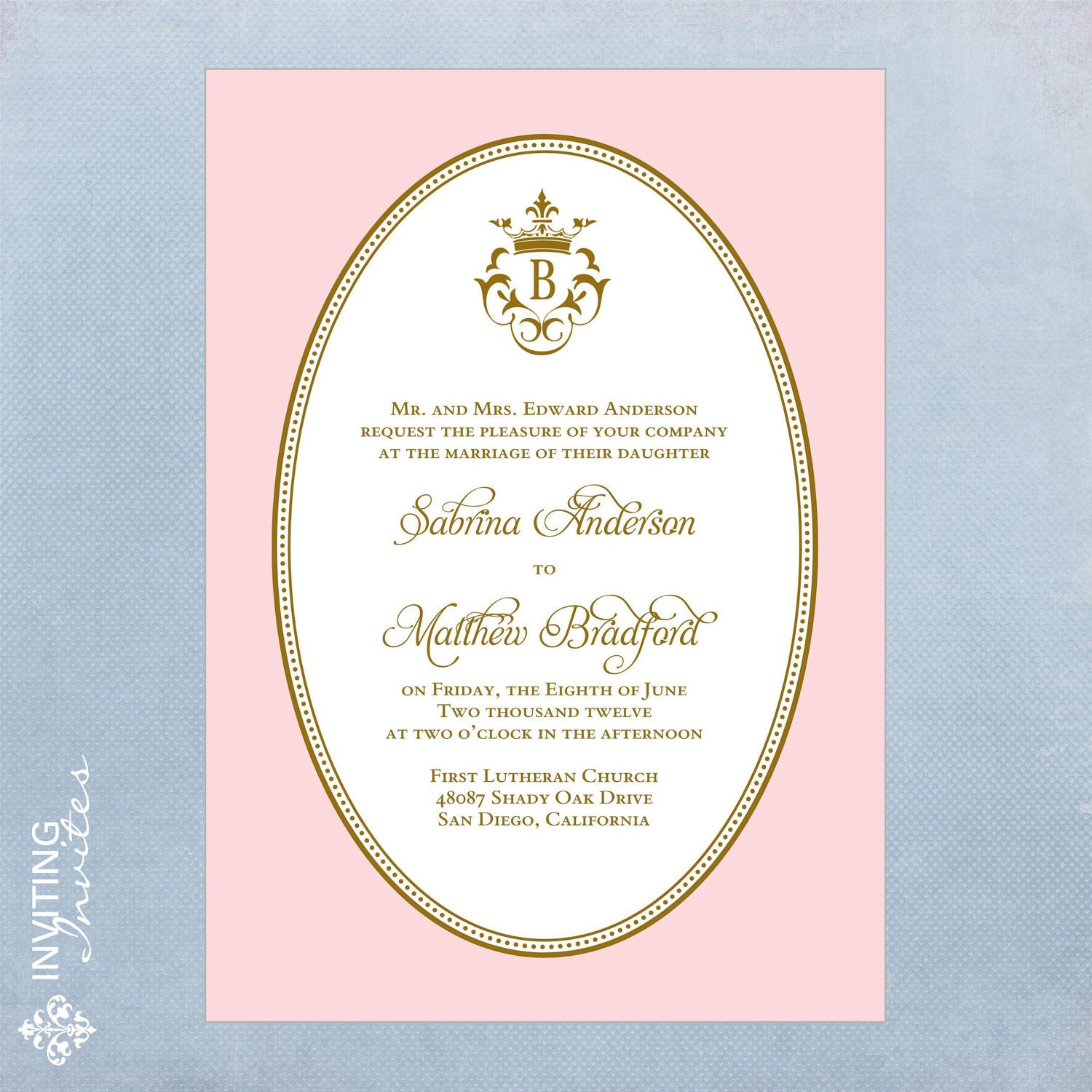 Wedding Invitation Royal Monogram Printable Digital
