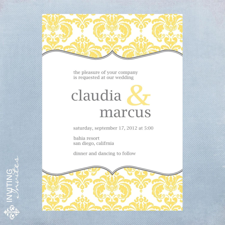 Wedding invitation damask printable digital by invitinginvites for Digital wedding invitations