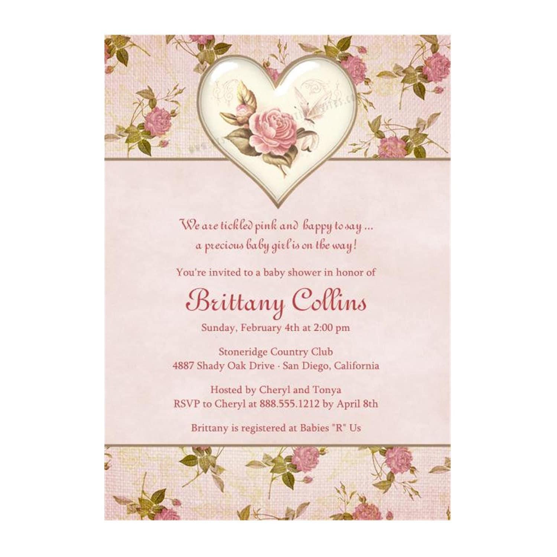 shabby chic vintage baby shower invitation printable