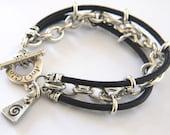 Mens Bracelet Leather heavy Sterling Silver Chain