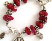 RESERVED FOR TODD Ruby Moonstone Artisan .925 Sterling Silver organic Garden Bracelet - Red Irridescent Stone