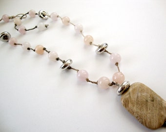 Morganite Pink Necklace hand tied hemp sterling silver