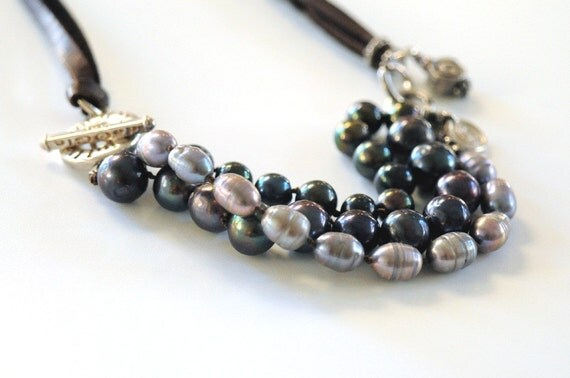 Black Pearl Leather Necklace Artisan Sterling Silver