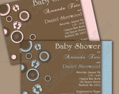 Personalized Polka Dot Feet Baby Shower Invitation Circles Pink Brown Blue Printable