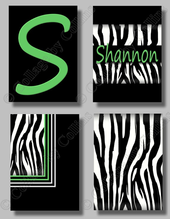 Etsy Personalized Wall Decor : Items similar to personalized zebra wall art name prints