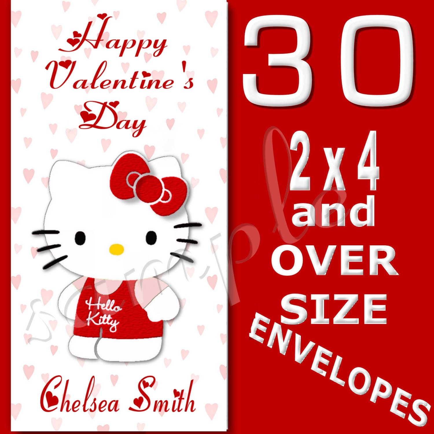 Personalized Hello Kitty Valentine Cards by collagebycollins