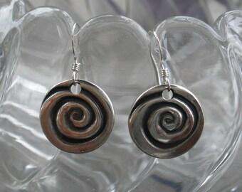 Hand Made Fine Silver Spiral Drop Earrings Made By Designer Artist