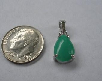 Handmande Teardrop Crysoprase Pendant Set In Sterling Silver Made By Designer Artist