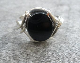 Handmade Black Onyx Ring in a White Gold Setting Made by Designer Artist