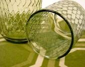 SALE - Diamond Olive Vintage Glassware