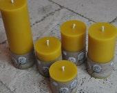 Beeswax Candles (Organically Managed) Canadian -- Set of Five Long Burning Pillars