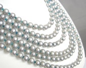 Vintage multi strand silver faux pearl necklace with blue glass seed beads