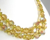 Vintage champagne yellow crystallized glass beaded necklace, double strand