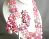 Vintage pink and pearl beaded necklace and earrings set, demi parure