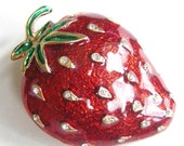 Vintage red enamel strawberry brooch, pendant