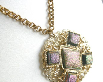 Vintage gold tone necklace with filigree pendant, iridescent cabs