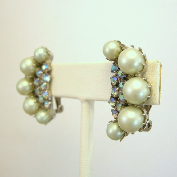 Vintage blue faux pearl and AB rhinestone earrings, clip on