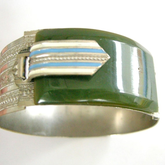 Rare vintage Deco belt bangle with enamel buckle, green bakelite